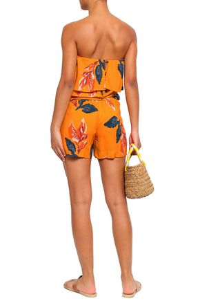 VIX PAULA HERMANNY Strapless layered printed voile playsuit