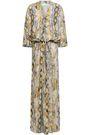 MELISSA ODABASH Karly lace-up snake-print voile maxi dress