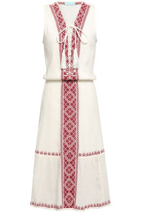 MELISSA ODABASH Gwyneth lace-up embroidered crinkled cotton-gauze dress
