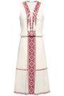 MELISSA ODABASH Gwyneth lace-up embroidered crinkled cotton-gauze dress