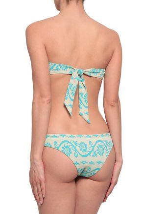 HEIDI KLEIN Pompom-embellished jacquard-knit bandeau bikini top