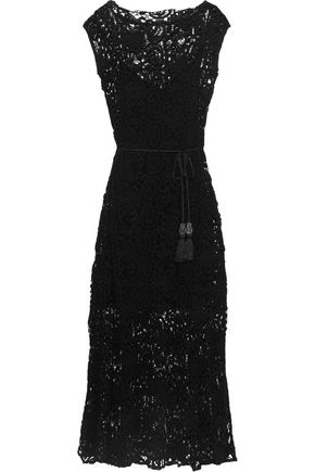 MIGUELINA Georgia belted cotton guipure lace maxi dress