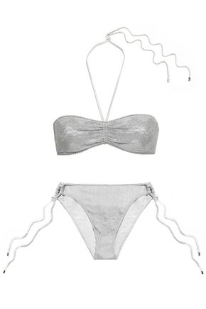 MISSONI MARE Metallic crochet-knit bandeau low-rise bikini
