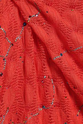 MISSONI MARE Crystal-embellished crochet-knit halterneck swimsuit