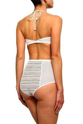 MISSONI MARE Jacquard-knit and stretch-mesh bandeau high-rise bikini