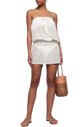 MELISSA ODABASH Strapless broderie anglaise mini dress