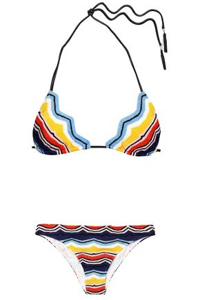MISSONI MARE Scalloped crochet-knit triangle low-rise bikini