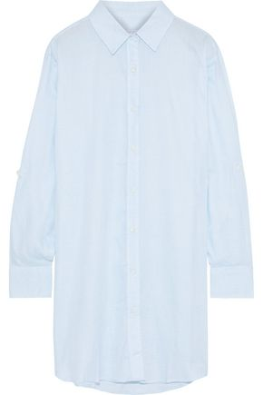ONIA Marie striped washed-poplin coverup