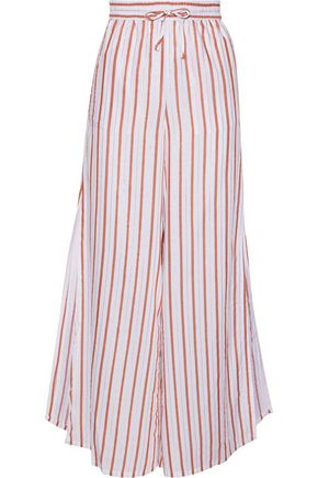 ONIA Chloe metallic striped gauze wide-leg pants