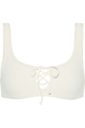 ONIA Erin lace-up ribbed bikini top