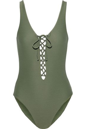 ONIA | Onia Bridget Lace-Up Ribbed Swimsuit | Goxip