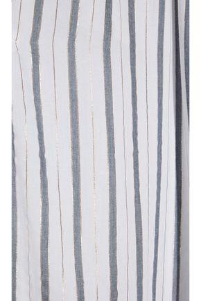 ONIA Chloe metallic striped voile wide-leg pants