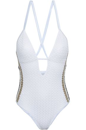 MISSONI MARE Open-back crochet-knit swimsuit
