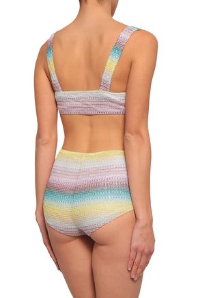 MISSONI MARE Metallic crochet-knit bikini
