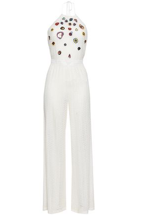 MISSONI MARE Open-back embroidered crochet-knit halterneck jumpsuit