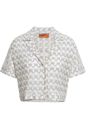 MISSONI MARE Cropped metallic crochet-knit top