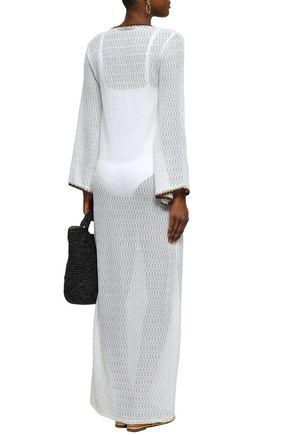MISSONI MARE Metallic-trimmed crochet-knit coverup