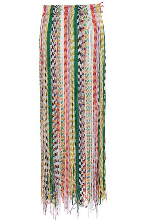 MISSONI MARE Fringed crochet-knit silk-blend midi skirt
