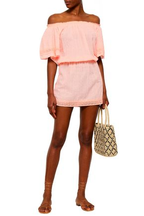 dcad29baacb75 MELISSA ODABASH Michelle off-the-shoulder embroidered cotton-gauze coverup