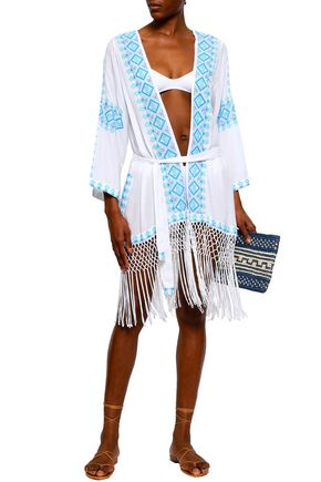 MELISSA ODABASH Fringed embroidered woven coverup