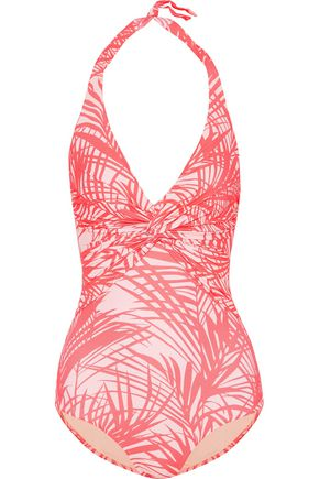 MELISSA ODABASH Twist-front crochet-knit swimsuit
