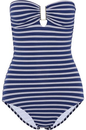 MELISSA ODABASH Argentina striped stretch-piqué bandeau swimsuit