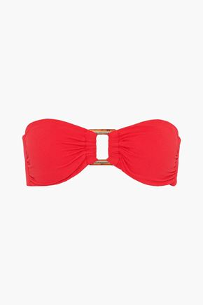 MELISSA ODABASH Angola bandeau piqué embellished bikini top