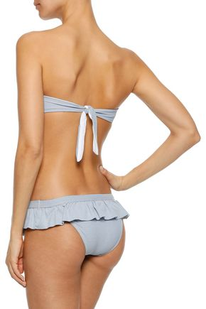 MELISSA ODABASH India knotted stretch-piqué bandeau bikini top