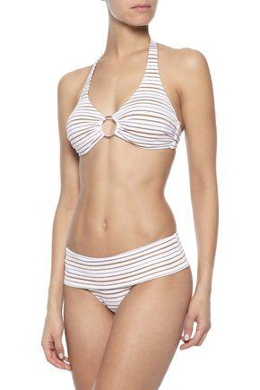 MELISSA ODABASH Brussels metallic striped halterneck bikini top