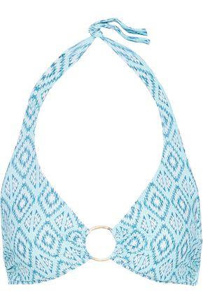 MELISSA ODABASH Brussels ring-embellished printed halterneck bikini top