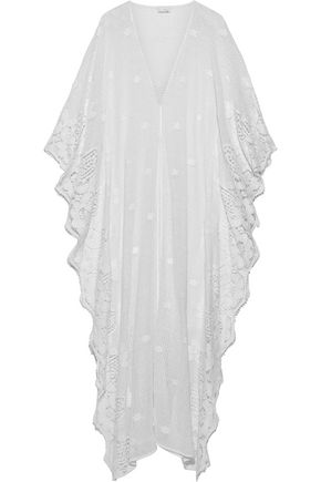 MIGUELINA Addison guipure lace-trimmed crocheted cotton kaftan