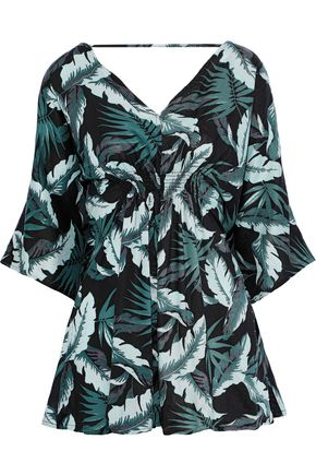 ONIA Alessandra shirred printed twill playsuit