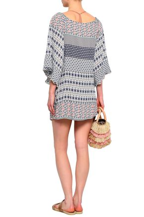 EBERJEY Gathered printed voile coverup