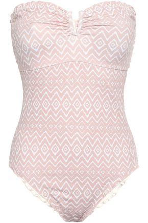 EBERJEY Ruched cutout printed bandeau swimsuit