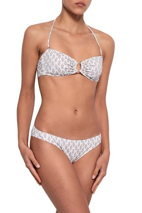 EBERJEY Embellished printed bandeau bikini top