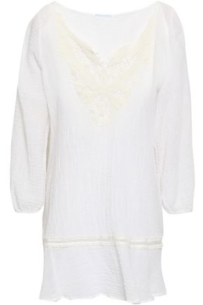 EBERJEY Crochet-trimmed crinkled cotton-gauze coverup