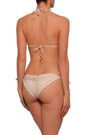 EBERJEY Printed low-rise bikini bottoms