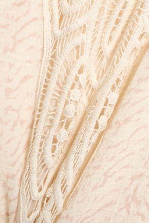 EBERJEY Crochet-paneled printed cotton-gauze coverup