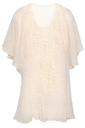 EBERJEY Crochet-paneled printed cotton-gauze coverup