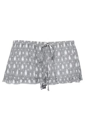 EBERJEY River ruffle-trimmed printed gauze shorts