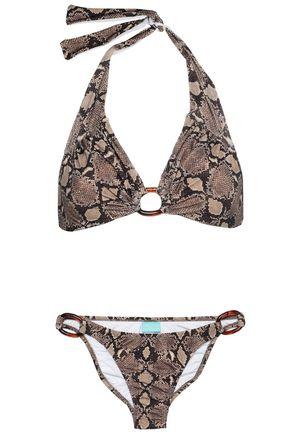 MELISSA ODABASH Embellished snake-print halterneck bikini