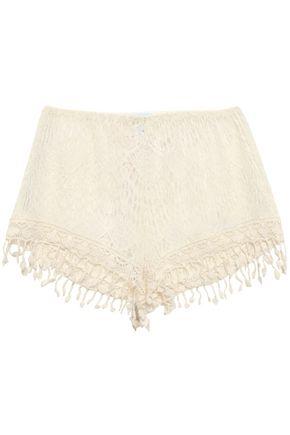 EBERJEY Dylan fringe-trimmed cotton-blend macramé lace shorts