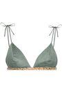 LOVE STORIES Printed faux suede triangle bikini top
