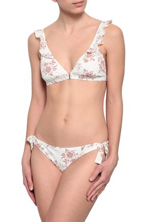 LOVE STORIES Emmy ruffle-trimmed floral-print triangle bikini top