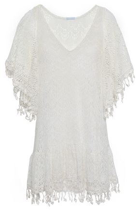 EBERJEY Fringed crocheted cotton-blend coverup