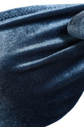 LOVE STORIES Blossom bow-detailed velvet bandeau bikini top