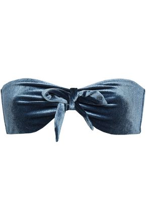 LOVE STORIES Blossom bow-detailed velvet bandeau bikini top