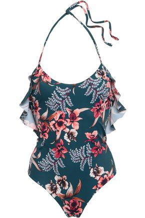 TORI PRAVER SWIMWEAR Ruffled printed halterneck swimsuit