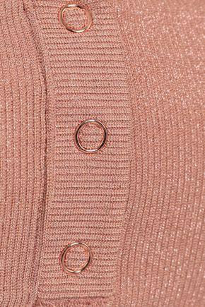TORI PRAVER SWIMWEAR Metallic ribbed-knit and tulle bikini top