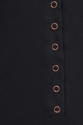 TORI PRAVER SWIMWEAR Mesh-paneled ribbed-knit swimsuit